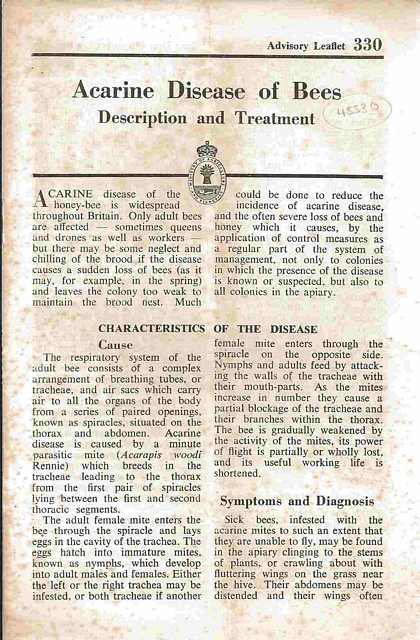 Acarine Disease of Bees. Description and Treatment.