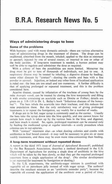 Ways of Administering Drugs to Bees.