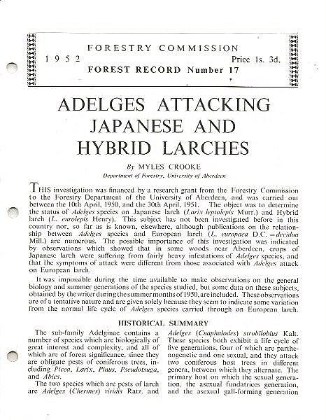 Adelges Attacking Japanese and Hybrid Larches.