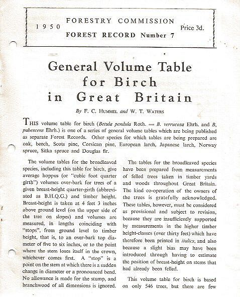 General Volume Table for Birch in Great Britain.