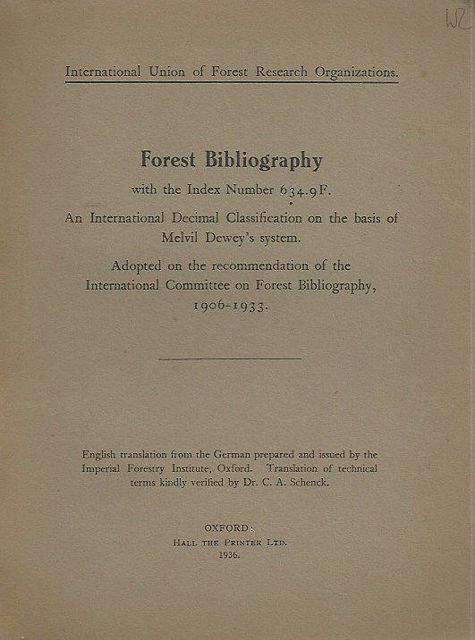 Forest Bibliography with the Index Number 634.9F.