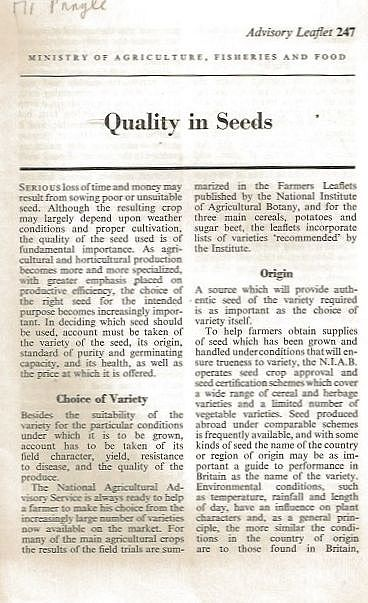 Quality in Seeds.