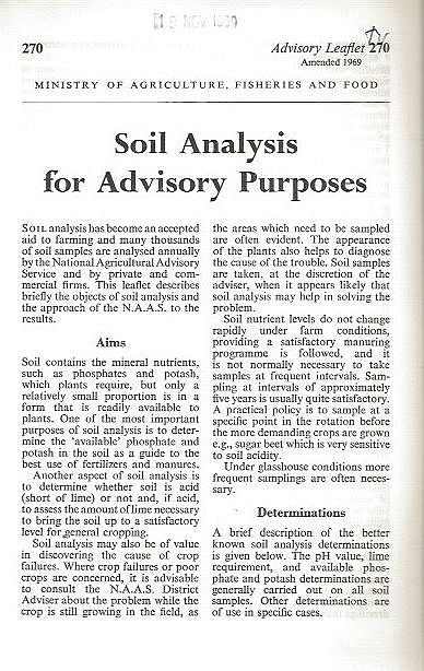 Soil Analysis for Advisory Purposes.