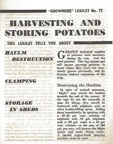 Harvesting and Storing Potatoes.