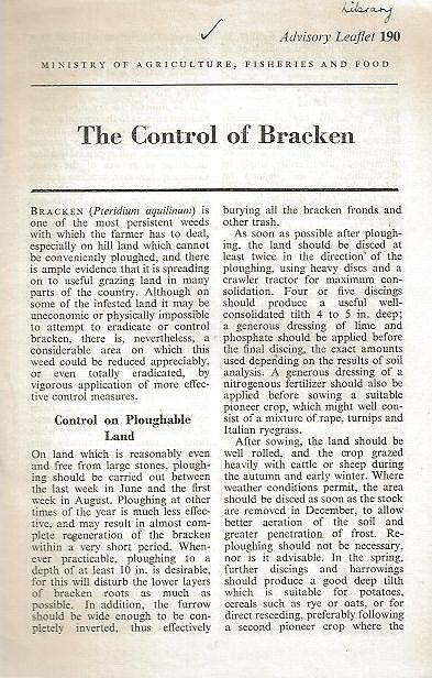 The Control of Bracken.