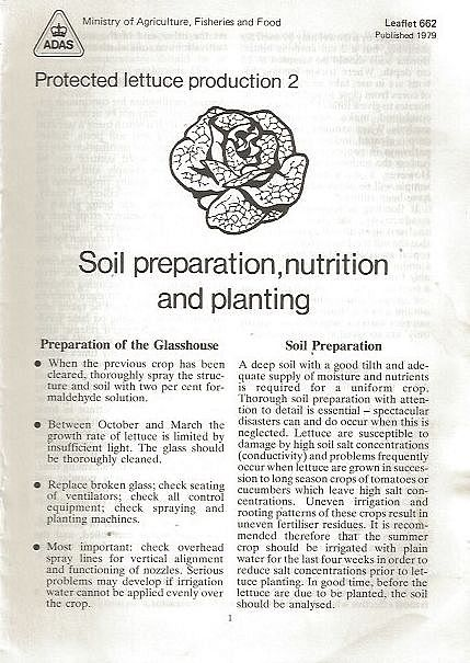Protected Lettuce Production 2: Soil Preparation, Nutrition and Planting.