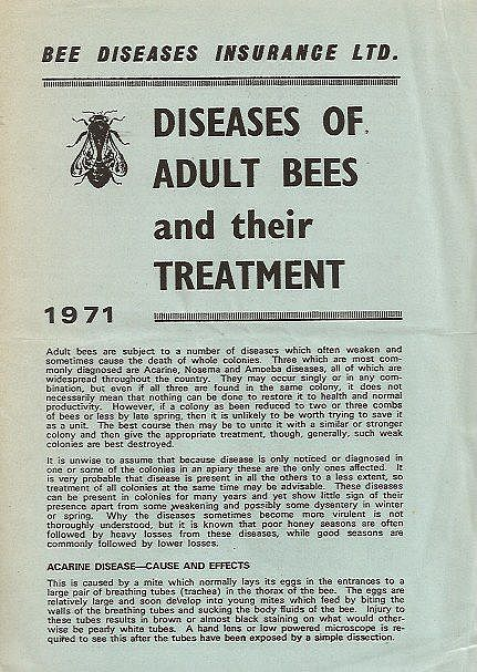 Diseases of Adult Bees and their Treatment.