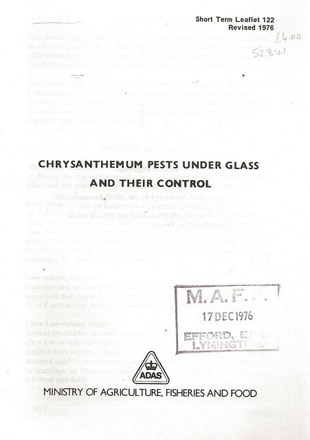Chrysanthemum Pests Under Glass and Their Control.