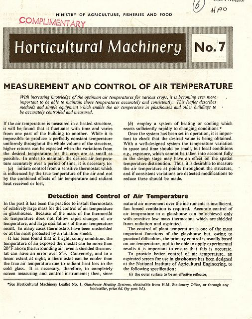 Measurements and Control of Air Temperature.