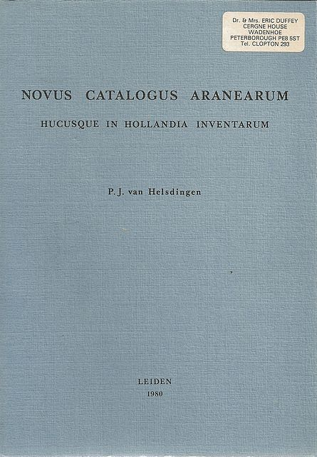 Novus Catalogus Aranearum.